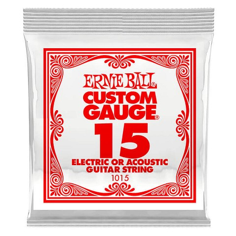 Ernie Ball Plain Steel Single Guitar String Electric or Acoustic .015p