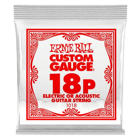 Ernie Ball Plain Steel Single Guitar String Electric or Acoustic .018p