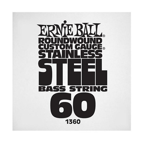 Ernie Ball Stainless Steel Round Wound Electric Bass Single String - Long Scale .060