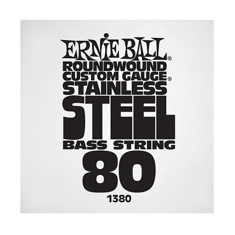 Ernie Ball Stainless Steel Round Wound Electric Bass Single String - Long Scale .080