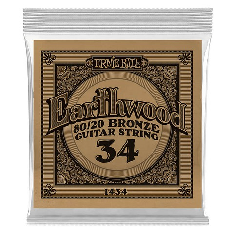 Ernie Ball Earthwood 80/20 Bronze Acoustic Guitar Single String .034