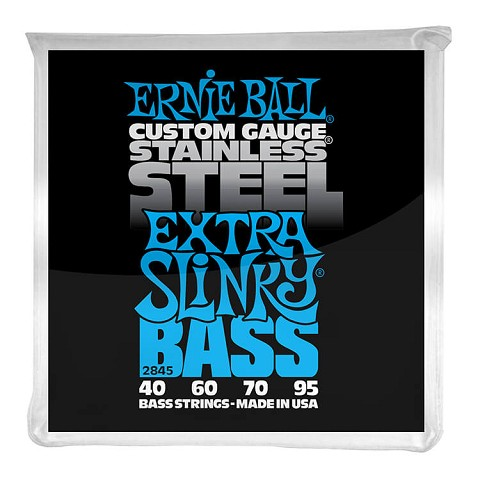 Ernie Ball Slinky Stainless Steel Wound Bass Strings Long Scale - 4-String 40-095 Extra Slinky 2845