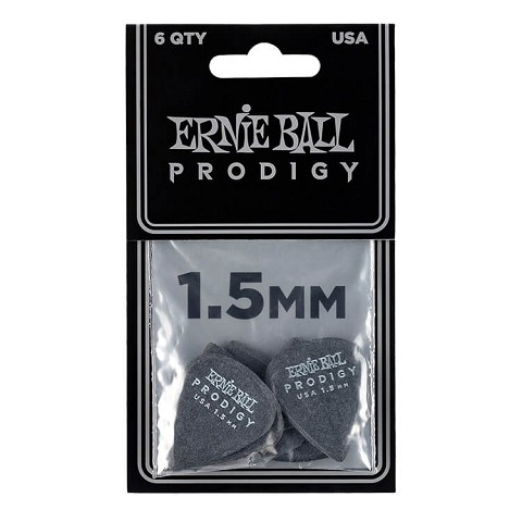 Ernie Ball Prodigy Guitar Picks - 1.5mm Black 6-Pack