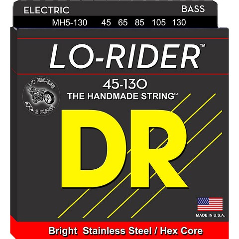 DR Lo-Rider Stainless Steel Electric Bass Strings Long Scale Set - 5-String 45-130 Medium MH5-130