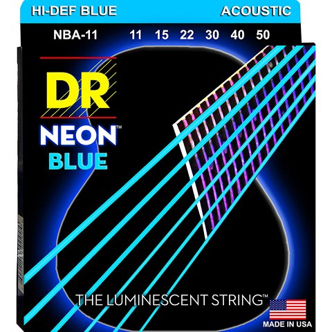 DR NEON Blue Coated Phosphor Bronze Acoustic Guitar String Set - 11-50 Custom Light NBA-11