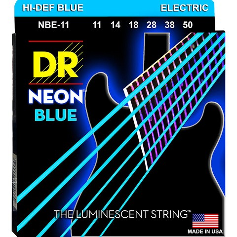 DR Neon Blue K3 Coated Electric Guitar String Set - 11-50 Heavy NBE-11