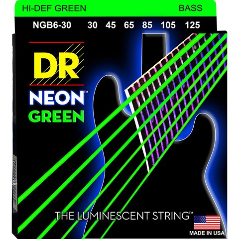 DR NEON Green Coated Electric Bass Strings Long Scale Set - 6-String 30-125 NGB6-30