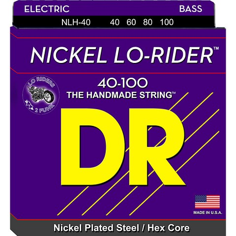 DR Nickel Lo-Rider Nickel Plated Steel Electric Bass Strings Long Scale Set - 4-String 40-100 Light NLH-40