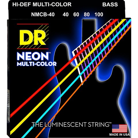DR NEON Multi-Color Coated Electric Bass Strings Long Scale Set - 4-String 40-100 NMCB-40 Rocksmith Colors