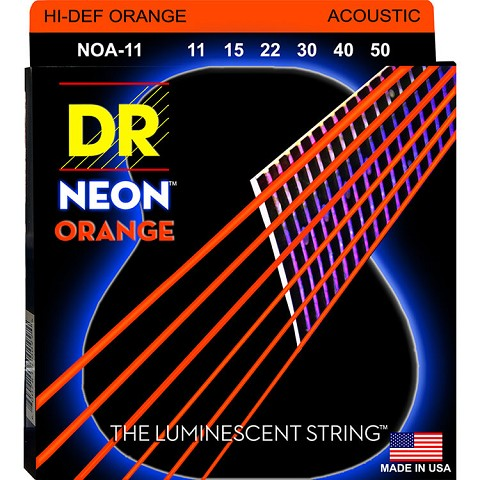 DR NEON Orange Coated Phosphor Bronze Acoustic Guitar String Set - 11-50 Custom Light NOA-11