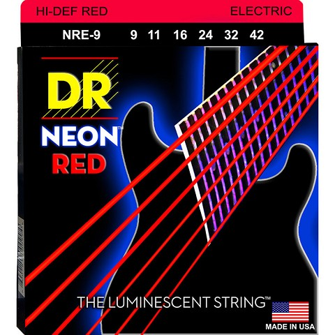 DR Neon Red K3 Coated Electric Guitar String Set - 09-46 Light-Heavy NRE-9/46