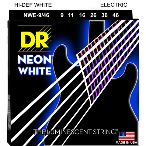 DR Neon White K3 Coated Electric Guitar String Set - 09-46 Light-Heavy NWE-9/46