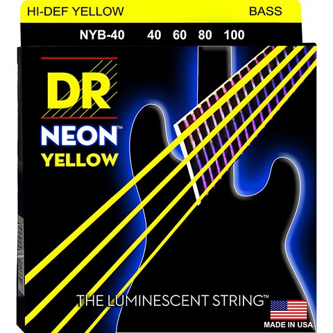 DR NEON Yellow Coated Electric Bass Strings Long Scale Set - 4-String 40-100 NYB-40
