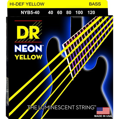 DR NEON Yellow Coated Electric Bass Strings Long Scale Set - 5-String 40-120 NYB5-40