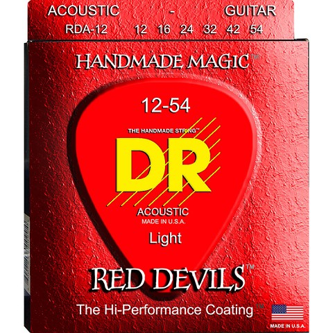 DR Red Devils Coated Phosphor Bronze Acoustic Guitar String Set - 12-54 Light RDA-12