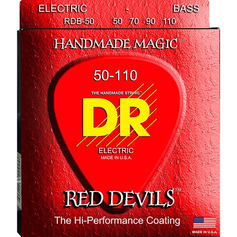 DR Red Devils Red Coated Electric Bass Strings Long Scale Set - 4-String 50-110 RDB-50