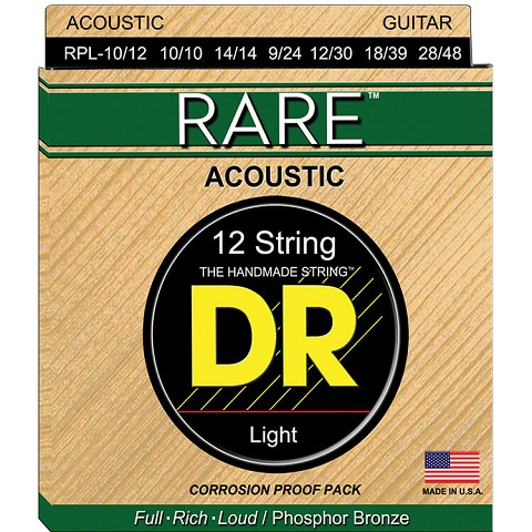 DR RARE Phosphor Bronze Acoustic Guitar String Set - 10-48 12-String RPL-10/12