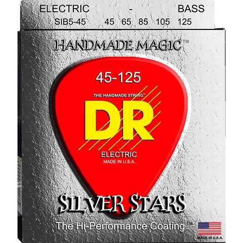 DR Silver Stars Clear Coated Electric Bass Strings Long Scale Set - 5-String 45-125 Medium SIB5-45