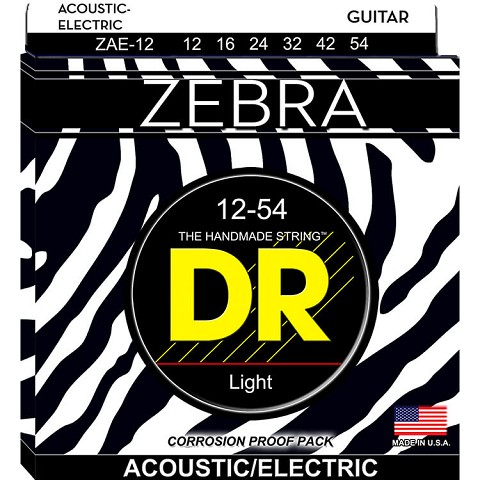 DR ZEBRA Acoustic / Electric Guitar String Set - 12-54 Light ZAE-12