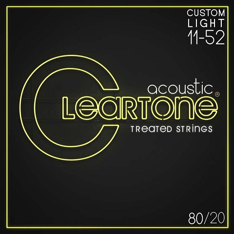 Cleartone EMP Treated 80/20 Bronze Acoustic Guitar String Set 11-52 Custom Light 7611