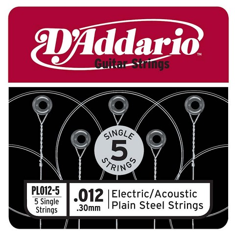 D'Addario 5-Pack Plain Steel Single Acoustic / Electric Guitar Strings .012p