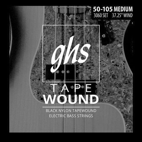 GHS Black Nylon Tapewound Bass Strings Long Scale - 4-String 50-105 Medium 3060