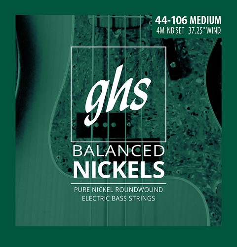 GHS Balanced Nickels Pure Nickel Round Wound Bass Strings Long Scale - 4-String 44-106 4M-NB