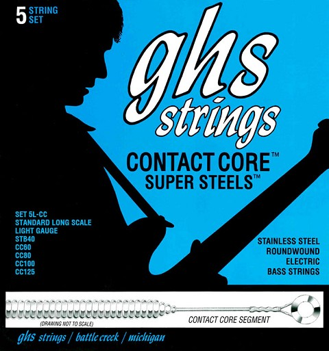 GHS Contact Core Super Steels Exposed Core Electric Bass Strings Long Scale - 5-String 40-125x 5L-CC