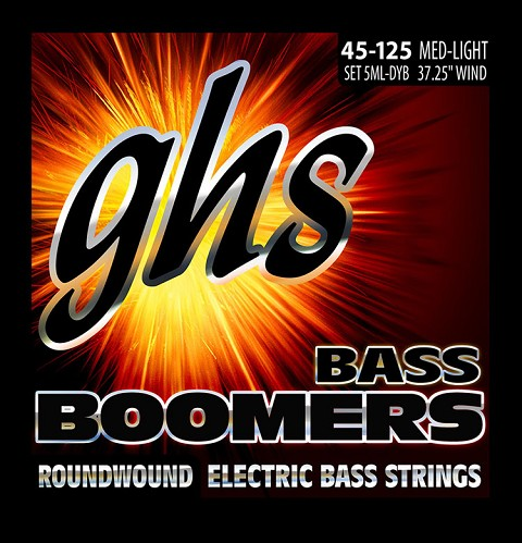 GHS Bass Boomers Nickel Wound Bass String Set Long Scale - 5-String 45-126 5ML-DYB