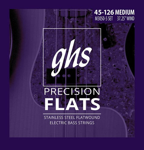 GHS Precision Flats Flatwound Bass Strings Long Scale - 5-String 45-126 Medium M3050-5