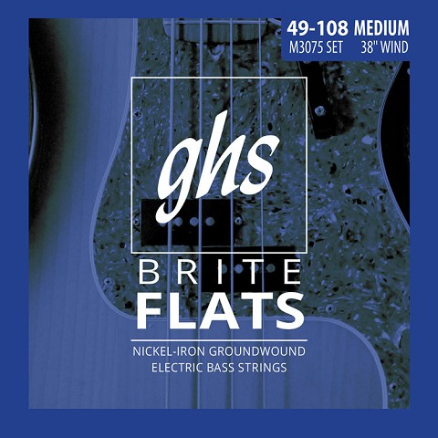 GHS Brite Flats Half Round Bass Strings Long Scale Plus Set - 4-String 49-108 Medium M3075