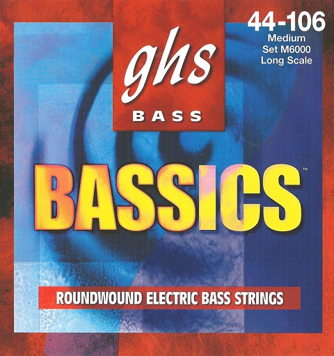 GHS Bassics Nickel Plated Steel Round Wound Electric Bass Strings Long Scale - 4-String 44-106 M6000
