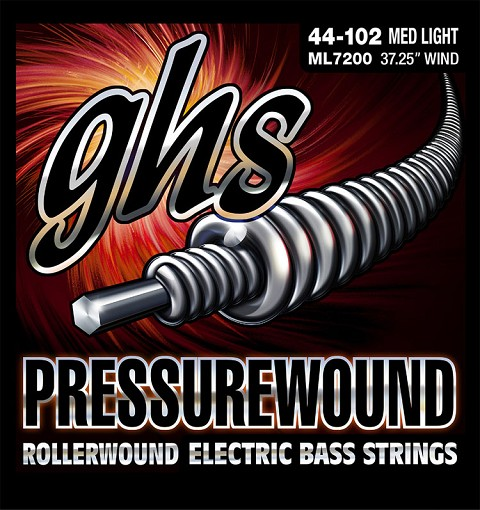 GHS Pressurewound Nickel-Iron Bass Strings Long Scale - 4-String 44-102 ML7200