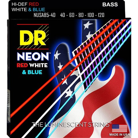DR NEON USA Flag Coated Electric Bass Strings Long Scale Set - 5-String 40-120 NUSAB5-40 Red White Blue